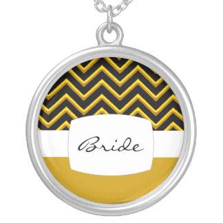 Customisable Chevron Metallic/Golden (Wedding) Round Pendant Necklace