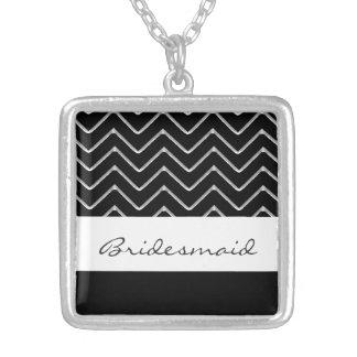 Customisable Chevron (Metallic) (Wedding) Square Pendant Necklace