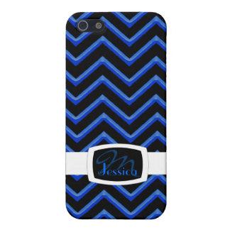 Customisable Chevron Neon/Blue iPhone 5/5S Cover