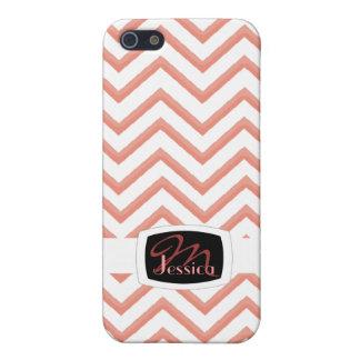 Customisable Chevron Peach (Monogram) iPhone 5/5S Cases