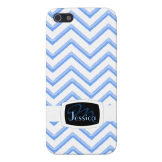 Customisable Chevron Powder Blue (Monogram) iPhone 5/5S Covers