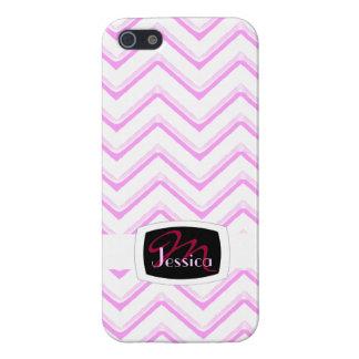 Customisable Chevron Soft Pink (Monogram) iPhone 5 Case