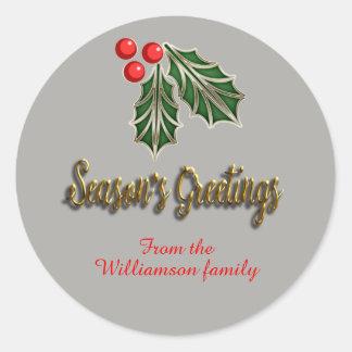 Customisable Chirstmas Sticker season's greetings