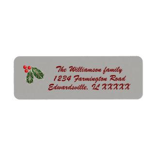 Customisable Christmas mailing label red green Return Address Label
