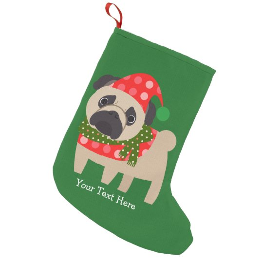 Customisable Christmas Pug Pup Small Christmas Stocking