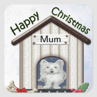 Customisable Christmas Westie Dog Gifts Square Sticker