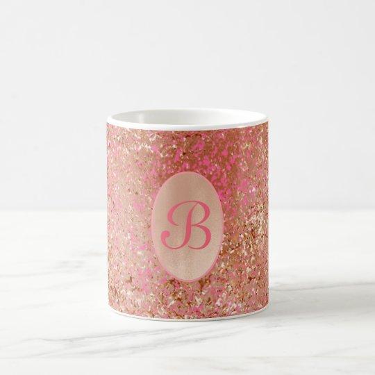 Customisable coffee mug faux Rose Gold hot pink