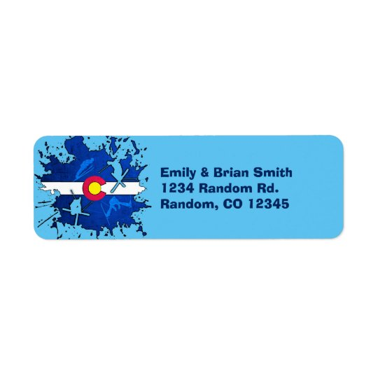 Customisable Colorado ski splatter return labels
