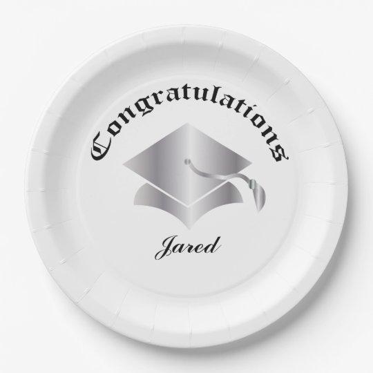 Customisable Congrats on Graduation Plates - Silv