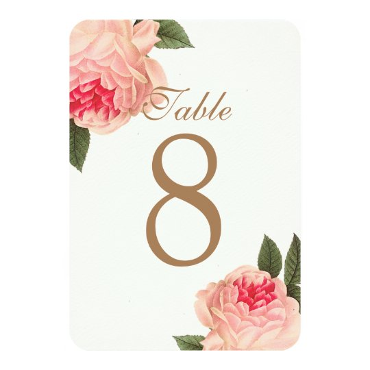 Customisable Coral Peonie Table Number Cards