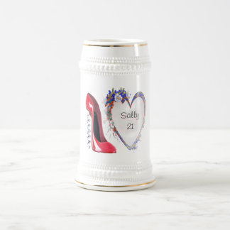 Customisable Corkscrew Stiletto and Heart Gifts Beer Steins