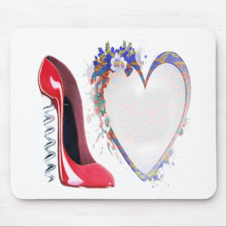 Customisable Corkscrew Stiletto and Heart Gifts Mouse Pad