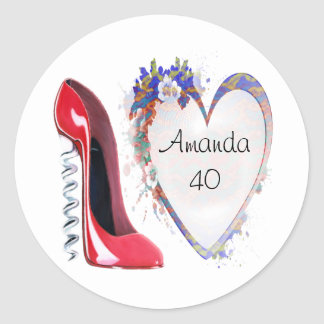 Customisable Corkscrew Stiletto and Heart Gifts Round Sticker