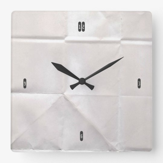 Customisable Crumpled Brown Paper Square Wall Clock