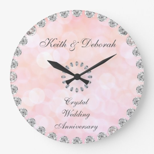 Customisable Crystal Wedding Anniversary Large Clock