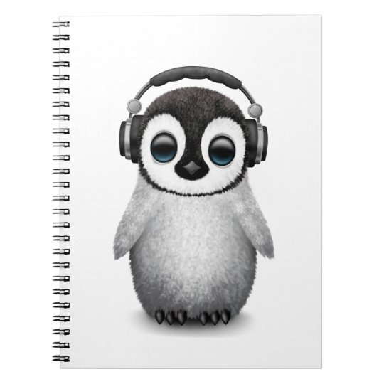 Customisable Cute Baby Penguin Dj with Headphones Spiral