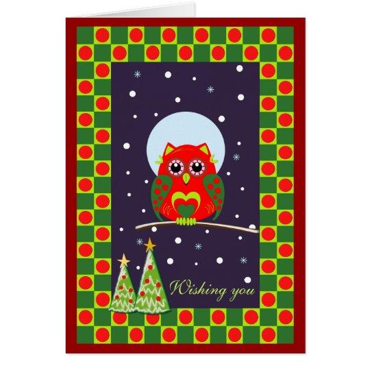 Customisable Cute Christmas card with Owl