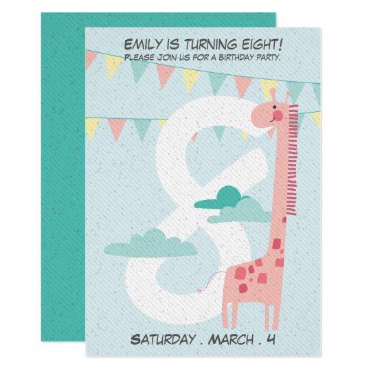 Customisable Cute Giraffe Birthday Invitation. Card