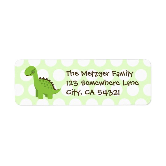 Customisable Cute Green Dinosaur Return Address Label