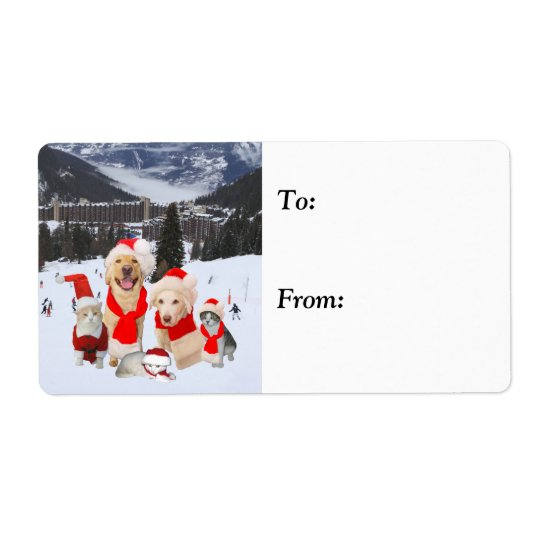 Customisable Cute Holiday Pets Shipping Label
