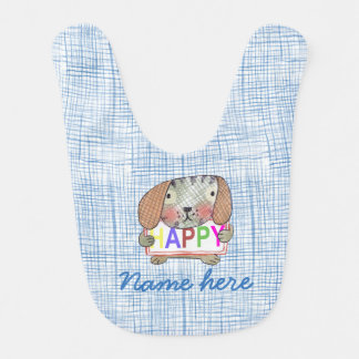 Customisable, cute puppy dog Bib