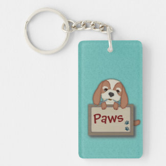 Customisable Cute Puppy Dog with Signboard Single-Sided Rectangular Acrylic Key Ring