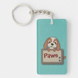 Customisable Cute Puppy Dog with Signboard Single-Sided Rectangular Acrylic Key Ring