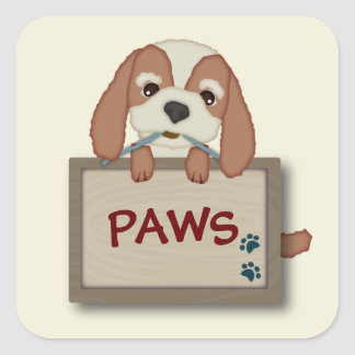 Customisable Cute Puppy Dog with Signboard Square Stickers