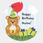 Customisable Cute Teddy Bear Birthday Sticker
