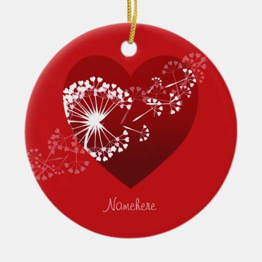 Customisable: Dandelion love heart Christmas Ornament