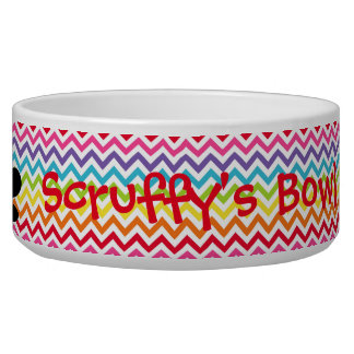 Customisable Dog Name Rainbow Chevron Paw Print