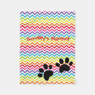 Customisable Dog Name Rainbow Chevron Paw Print Fleece Blanket