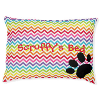 Customisable Dog Name Rainbow Chevron Paw Print Pet Bed