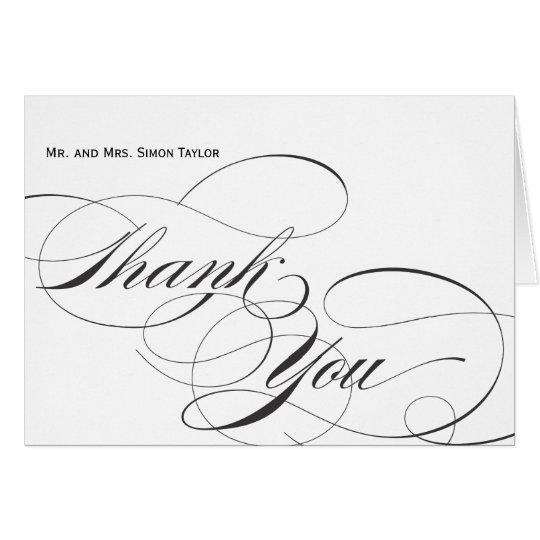 Customisable Elegant Script Thank You Card - Black