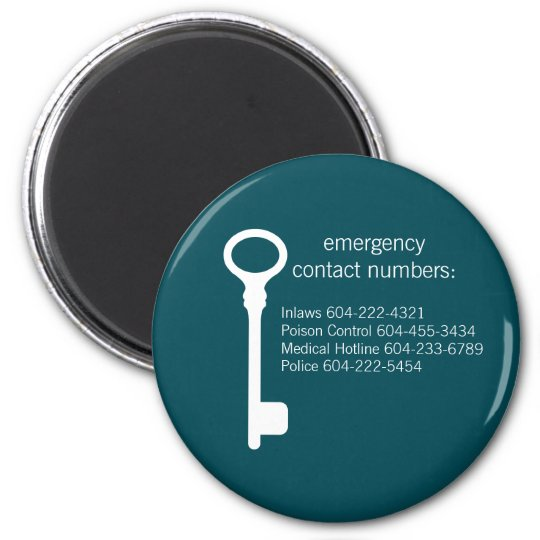 Customisable Emergency Contact Numbers Magnet