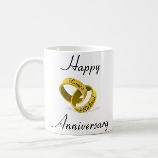 Customisable Engraved Rings - anniversary gift Coffee Mug