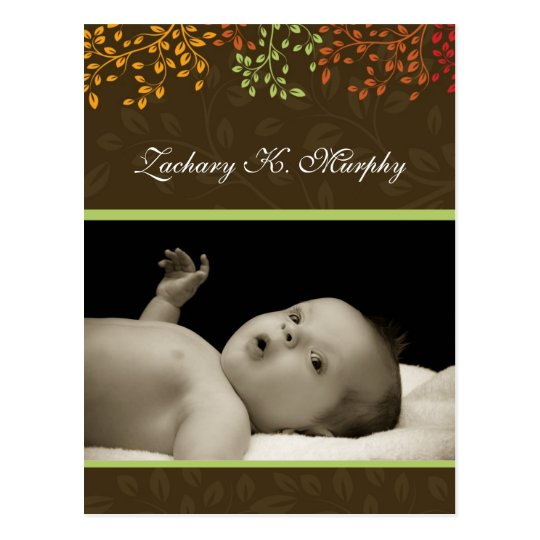 Customisable Fall Birth Announcement Template Postcard