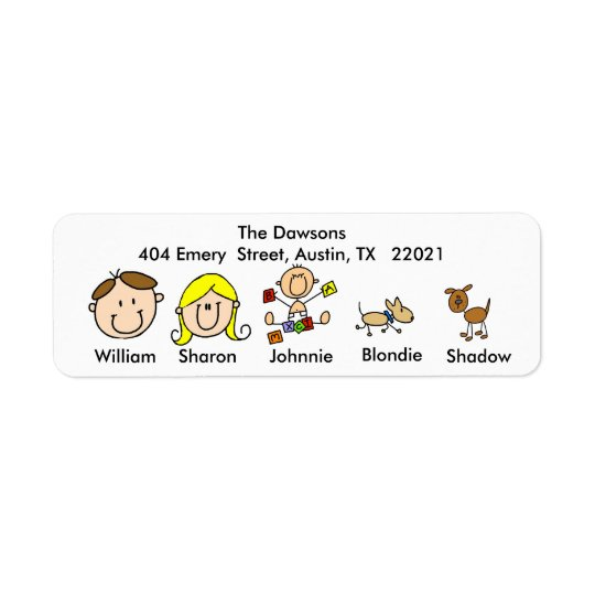 Customisable Family With 2 Dogs Address Labels
