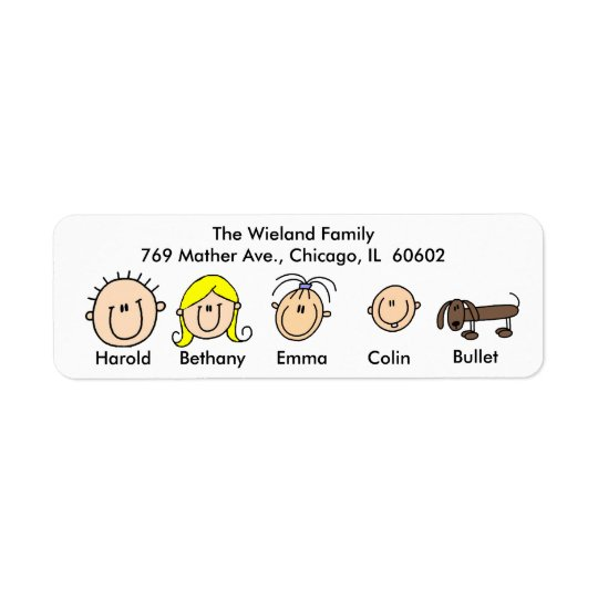 Customisable Family With Dog Address Labels