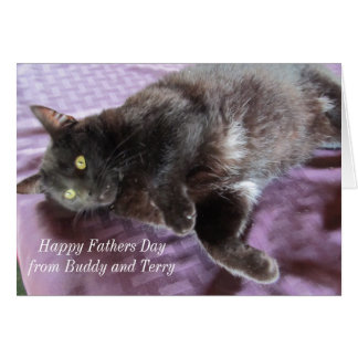 Customisable Father's Day Card with Cat