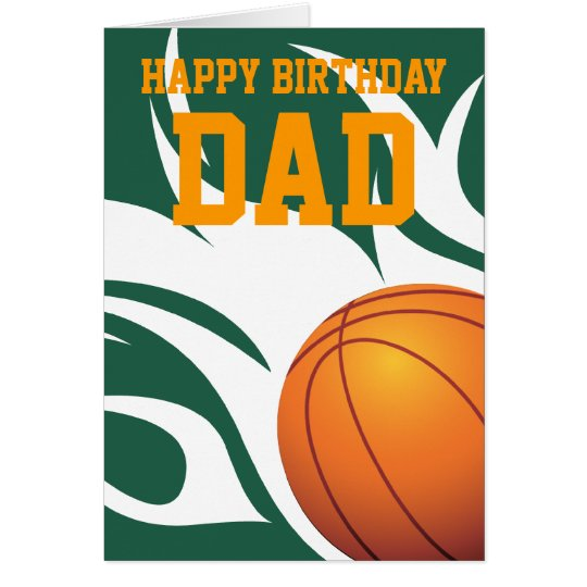 Customisable Flaming Basketball Green and White Card