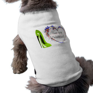 Customisable Floral Heart and Green Stiletto Shoe Doggie T-shirt