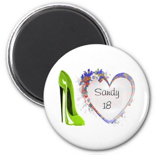Customisable Floral Heart and Green Stiletto Shoe Magnets