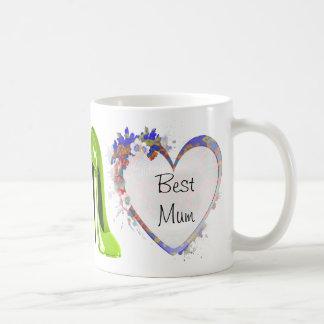 Customisable Floral Heart and Green Stiletto Shoe Basic White Mug