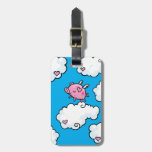 Customisable flying pig dancing on clouds luggage tag