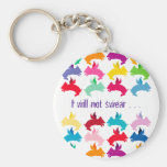 Customisable: Flying piggies Basic Round Button Key Ring