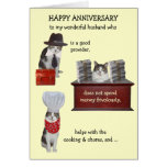Customisable Funny Cat Husband Anniversary Greeting Cards