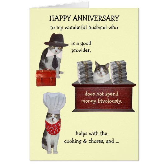 Customisable Funny Cat Husband Anniversary Card