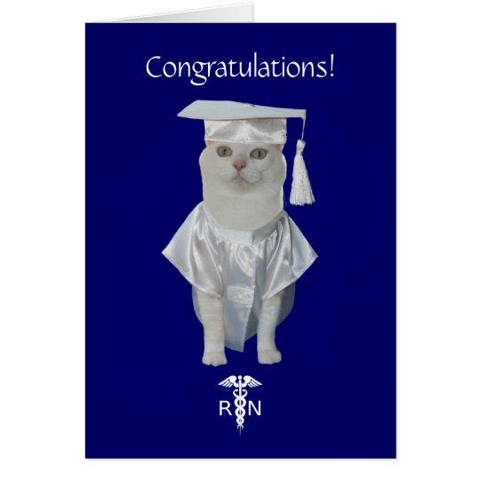 Customisable Funny Cat Nursing Graduation Card