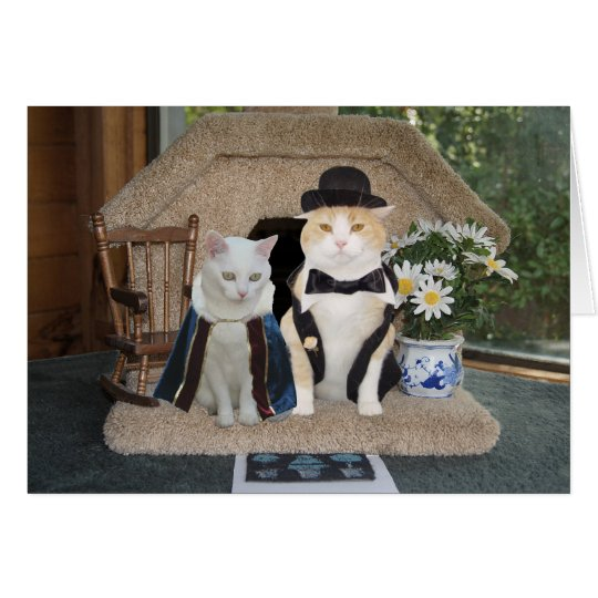 Customisable Funny Cats Anniversary Classy Couple Card